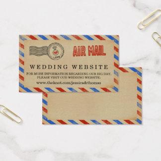 A coleção do casamento do correio aéreo do vintage cartão de visitas