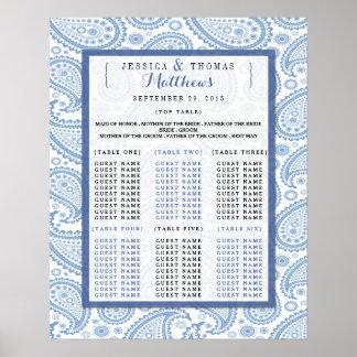 A coleção moderna do casamento de Paisley - azul Pôster
