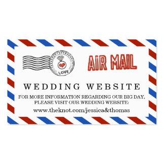 A coleção moderna do casamento do correio aéreo cartão de visita
