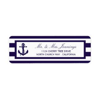 A coleção náutica do casamento da listra do etiqueta endereço de retorno