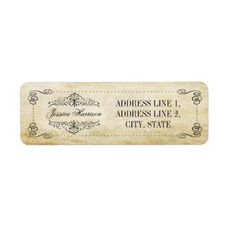 A coleção ornamentado do casamento vintage do etiqueta endereço de retorno