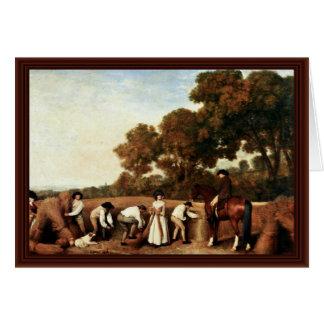 A colheita de grão por Stubbs George Cartões