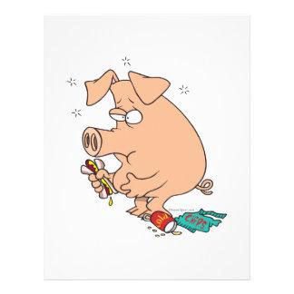 a comida lixo engraçada encheu o porco com dor de  modelos de panfleto