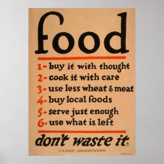A comida, não o desperdiça poster vintage