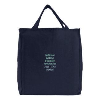 A consciência nacional do distúrbio alimentar, jun bolsa tote bordada
