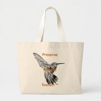 A conserva, reciclar, sustenta o bolsa enorme