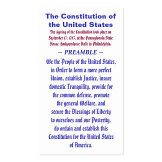 A constituição do PREÂMBULO do ~ dos Estados Unido Cartao De Visita