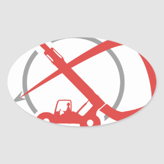 A construção é minha vida - empilhadeira adesivo oval