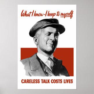 A conversa descuidada custa vidas - propaganda de poster