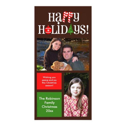 A cor moderna do feriado obstrui 2 cartoes com foto personalizados