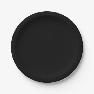 A cor sólida simplesmente preta personaliza-o prato de papel