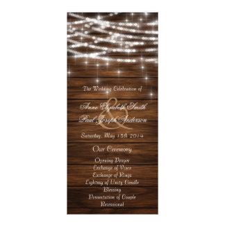 A corda de madeira ilumina programas do casamento 10.16 x 22.86cm panfleto