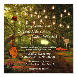 A corda Enchanted da floresta ilumina o convite do