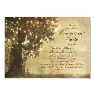 A corda ilumina a festa de noivado rústica da convite 12.7 x 17.78cm
