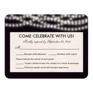 A corda ilumina o cartão de resposta - cantos convite 10.79 x 13.97cm