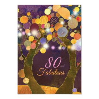 A corda ilumina o convite de aniversário do 80