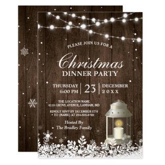 A corda rústica da festa de Natal ilumina a Convite 12.7 X 17.78cm