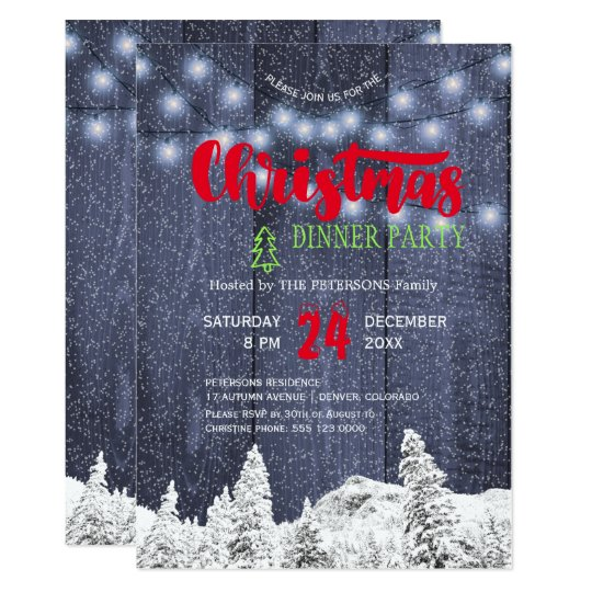 A corda rústica da neve ilumina a festa de Natal Convite 12.7 X 17.78cm