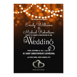 A corda rústica do casamento do país ilumina o convite 12.7 x 17.78cm