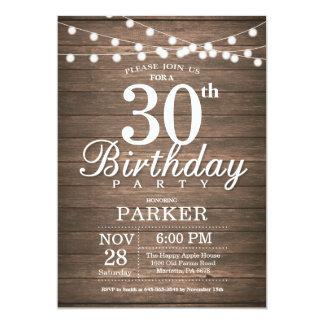 A corda rústica do convite do aniversário de 30