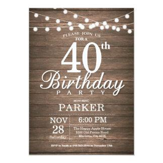 A corda rústica do convite do aniversário de 40