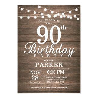 A corda rústica do convite do aniversário do 90