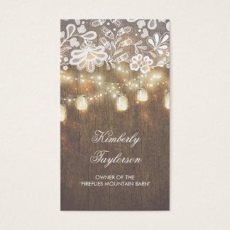 A corda rústica do frasco de pedreiro ilumina o cartão de visitas