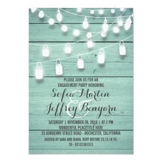 A corda rústica ilumina a festa de noivado da convite 12.7 x 17.78cm