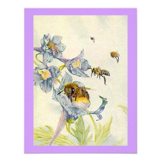 A corriola floresce abelhas que a festa de anivers convites personalizados
