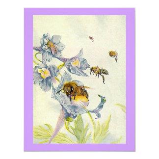 A corriola floresce abelhas que a festa de convite 10.79 x 13.97cm