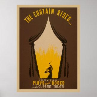 A cortina aumenta o poster vintage 1942 de WPA do