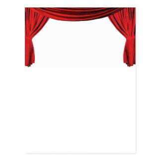 A cortina vermelha extravagante da mostra de cartão postal