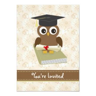 A coruja bonito, almofariz, festa de formatura do convite 11.30 x 15.87cm