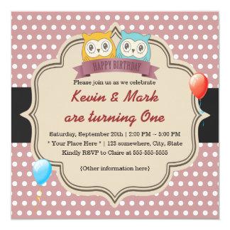 A coruja bonito junta a festa de aniversário das convite quadrado 13.35 x 13.35cm