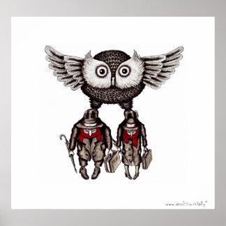 A coruja com duas pessoas abstrai o poster da arte pôster