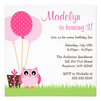 A coruja cor-de-rosa bonito Balloons convites do a