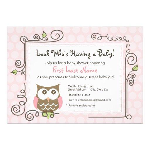 A coruja do chá de fraldas convida convite personalizado