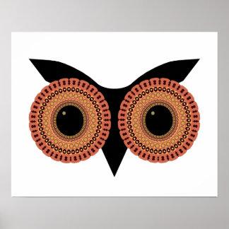 A coruja Eyes o poster feito sob encomenda