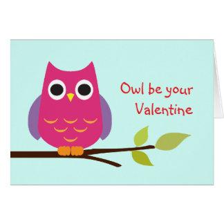 A coruja roxa bonito seja seus namorados adoráveis cartão comemorativo