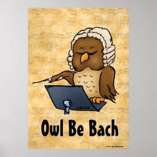 A coruja seja poster da música de Bach Pôster