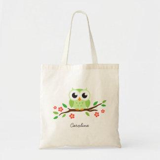 A coruja verde bonito no ramo floral personalizou  bolsa
