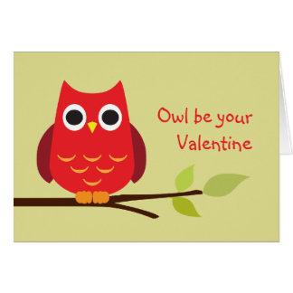 A coruja vermelha bonito seja seus namorados adorá cartão comemorativo
