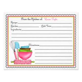 A cozinha fornece cartões da receita do cozinhar d convites personalizado