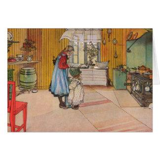A cozinha por Carl Larsson customizável Cartão Comemorativo