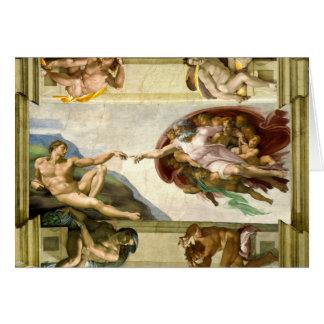 A criação de Adam por belas artes de Michelangelo Cartão