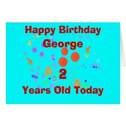 A criança de 2 anos do feliz aniversario adiciona  cartao