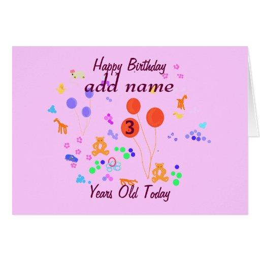 A criança de 3 anos do feliz aniversario adiciona  cartoes
