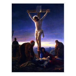 A crucificação de Jesus. Cartão das belas artes Cartao Postal