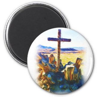A cruz de Salvation-Saved_ Ímã Redondo 5.08cm