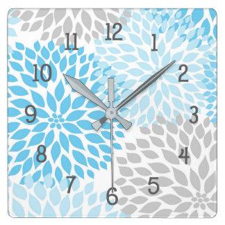A dália moderna floresce o cinza azul e cinzento relógio para parede